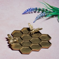 Gold Honeycomb Bee Trinket Dish