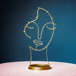 Wire Gold Face Abstract Jewellery Stand