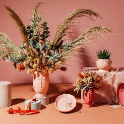 Face Vase Matt Pink, Abstract Face Vase