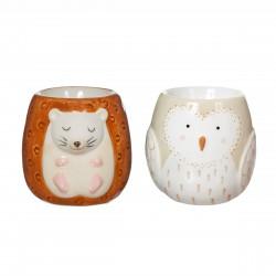 Forest Folk Owl & Hedgehog Egg Cups