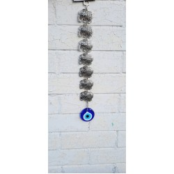7 Elephants and Evil Eye Hanging Decorations, Protection and Good Luck Charm