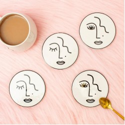 Abstract Face Coasters Set of 4