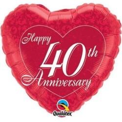 "Happy 40th Anniversary Foil Balloon 18"""