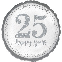 "Sparkling 25th Silver Anniversary Foil Balloon 18"""