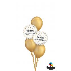 Gold Happy Anniversary Balloon Bouquet
