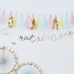 Gold Congratulations Script Bunting