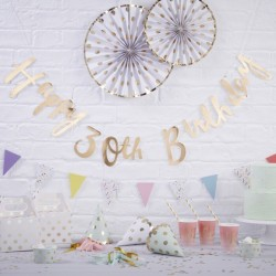 Gold Happy 30th Birthday Bunting
