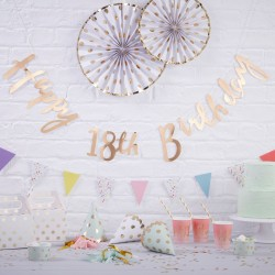 Gold Happy 18th Birthday Bunting