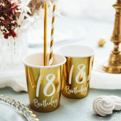 Gold 18th Birthday Paper Cups
