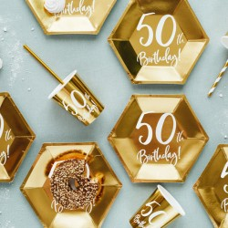 Gold 50th Birthday Party Plates