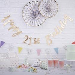 Gold Happy 21st Birthday Bunting