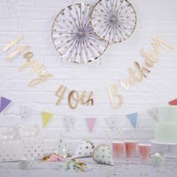 Gold Happy 40th Birthday Bunting