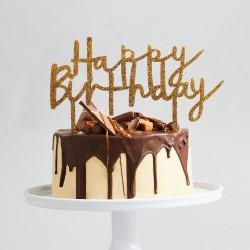 Gold Glitter Acyrlic Happy Birthday Cake Topper