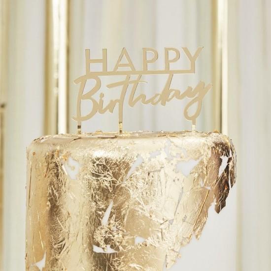 Gold Acrylic Birthday Cake Topper