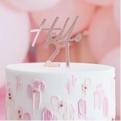 Rose Gold Hello 21 Birthday Cake Topper