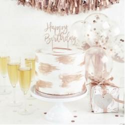 Rose Gold Happy Birthday Acrylic Cake Topper