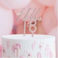 Rose Gold Hello 18 Birthday Cake Topper