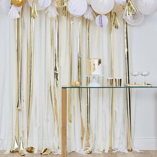 Gold Party Streamers Backdrop
