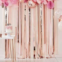 Pink Rose Gold Streamers Backdrop