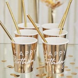 Gold Happy Birthday Party Cups