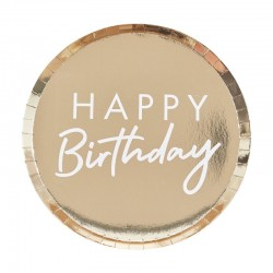Gold Foiled Happy Birthday Plate