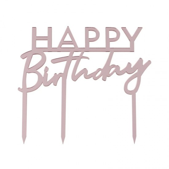 Pink Acrylic Birthday Cake Topper