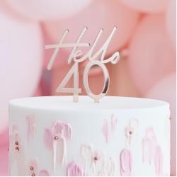 Rose Gold Hello 40 Birthday Cake Topper