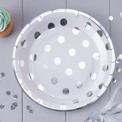 Silver Foiled Polka Dot Paper Plates