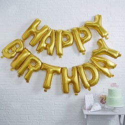 Gold Birthday Balloon Bunting