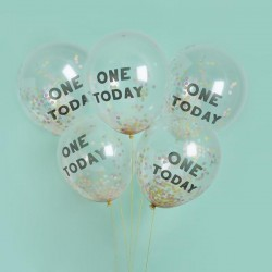 5 One Today Confetti Balloons