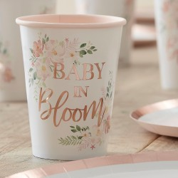 Rose Gold Floral Baby Shower Cups