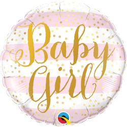 """Baby Girl Pink Stripes Foil Balloons 18"""""""