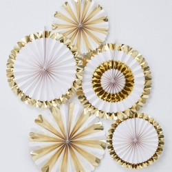 Gold Foiled Paper Fan Decorations