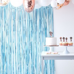 Matt Blue Fringe Curtain Backdrop