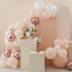Peach, White & Rose Gold Balloon Arch