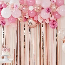 Rose Gold Balloon & Fan Garland