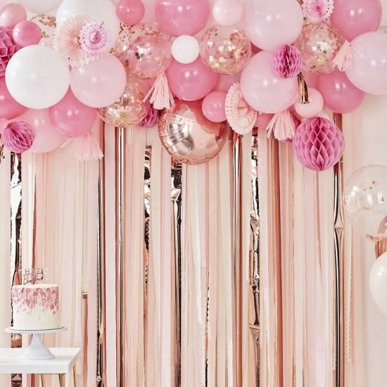 Rose Gold Balloon & Fan Garland