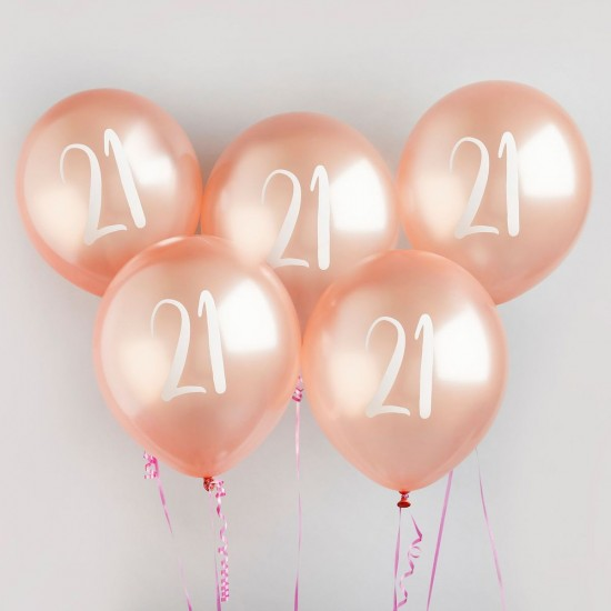 Rose Gold Number 21 Balloons