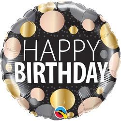 "Happy Birthday Big Metallic Dots Foil Balloon 18"""