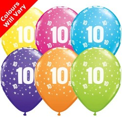 Age 10 Multicoloured Latex Balloons 11 inch