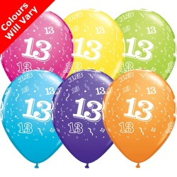 Age 13 Multicoloured Latex Balloons 11 inch