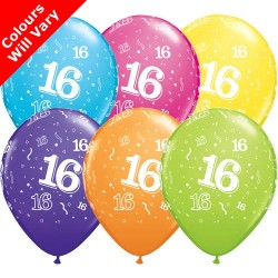 Age 16 Multicoloured Latex Balloons 11 inch