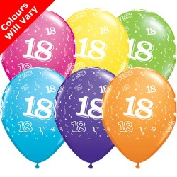 Age 18 Multicoloured Latex Balloons 11 inch