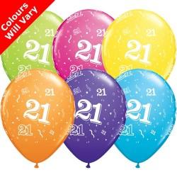 21st Birthday Multicoloured Latex Balloons 11 inch