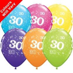 30th Birthday Multicoloured Latex Balloons 11 inch