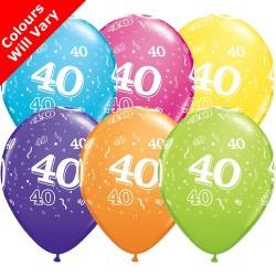 40th Birthday Multicoloured Latex Balloons 11 inch
