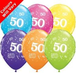 50th Birthday Multicoloured Latex Balloons 11 inch