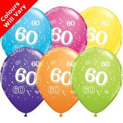 60th Birthday Multicoloured Latex Balloons 11 inch