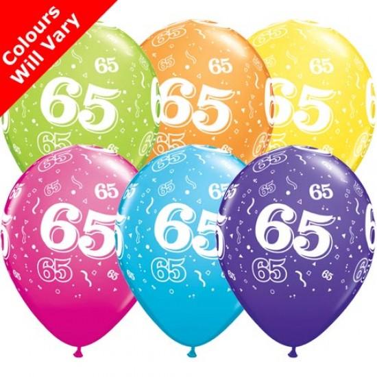 65th Multicoloured Latex Balloons 11 inch