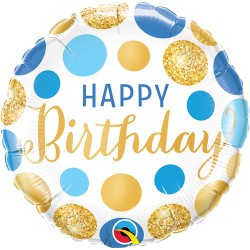 """Happy Birthday Blue and Gold Dots Foil Balloon 18"""""""
